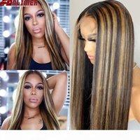 150 densidad 13x6 pelucas frontales de encaje resaltar rubio piano color recto encaje frontal peluca brasileño remy seda base humano pelo peluca