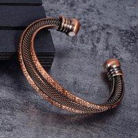 Браслет скрученный чистый медный браслет магнитные винтажные винтажные цветы Здоровье энергии преимущества регулируемая открытая манжеты браслеты для мужчин1