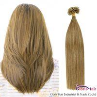 """100 стренг 0.5g / с Fusion Кератин Бонд человеческих волос Capsule U Nail Tip Real Remy Pre скрепленные волос # 8 Средний Ash Brown 18-22"""" На продажу"""