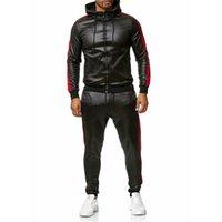 الرجال الرياضية ماركة هوديي هوديي المرقعة البلوز جلدية أعلى السراويل مجموعات الرياضة البدلة تراكسويت # G2 201109