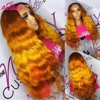 Spitze Perücken Orange Ingwerfarbe Für Frauen Menschliches Haar Ombre Body Wave Tief Teil Perücke HD Vorplucked Baby Remy