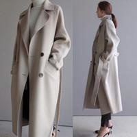 여성 겨울 코트 가을과 겨울 새로운 큰 크기 여자의 단색 옷깃 느슨한 긴 양면 울 코트 여성 JAS 200930