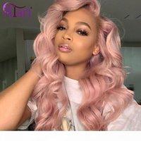 Parrucca del corpo del corpo della parrucca rosa Parrucca anteriore del pizzo Trasparente Parrucche peruviane trasparenti Parrucche dei capelli umani vergini 100% per le donne nere del pizzo della densità 180