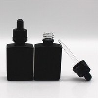 30 ml Siyah Buzlu Cam Sıvı Reaktifi Pipet Damlalık Şişeleri Kare Uçucu Yağ Parfüm Şişesi Duman Yağı E Sıvı Şişeler D 9 N2