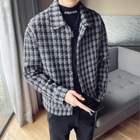 Plaid Short Herren Wolle Trenchcoat Jacken Britische Stil Männer Harajuku Lose Windjacke 2020 Winter Steetwear Ropa de Hombre T201029