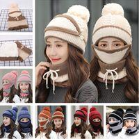 모자 비니 얼굴 스카프 목 링 워머 세트 여자 Skimask 기병 모자 E110602 마스크 지어 겨울 니트 비니 두꺼운 따뜻한 양털