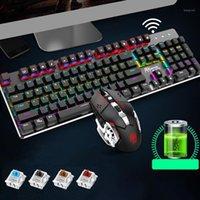 104 키 백라이트 게임 기계 무선 키보드 + 3600dpi 마우스 마우스 PC 노트북 Office1에 대한 자동 게임 마우스 세트
