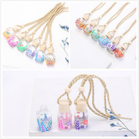 15 Colors Car Perfume Bottle Diffusers Empty Printed Flower Essential Oil Diffuser Ornaments Air Freshener Pendants Perfumes Glass Bottles