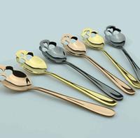Şeker Kafatası Çay Kaşığı Paslanmaz Çelik Gümüş İçin Çay Kahve Kaşık Çatal Çay Kaşığı 3 renk KKA8123