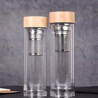 زجاجة الزجاج الخيزران الغطاء مع القمع الشاي زجاجة مياه مزدوجة الجدران الزجاجية الأعمال الكؤوس الأزياء البهلوانات WY310w