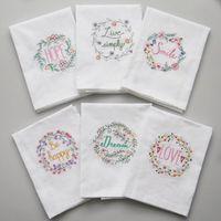 Serviettes de serviettes en coton brodées Tein de Tein de table de table absorbant Serviettes de table de table Cuisine Utilisez une boutique de mariée de mariage 6 designs WB3372