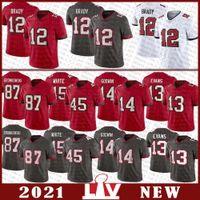 12 Tom Brady Football Jersey 87 Rob Gronkowski 81 Antonio Brown 14 Chris Godwin 45 Devin White 13 Mike Evans 78 تريستان Wirfs مخيط تامباخليجbuccaneer الفانيلة
