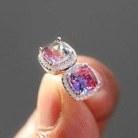 Luxury Female Crystal Zircon Stone Stud Earrings Fashion Vintage Rainbow Square Stud Earrings Women Wedding Party Jewelry
