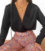 Shyloli frauen satin v neck sexy tops und bluse feste farbe mode sommer herbst langarm shirts party club fashion 201126