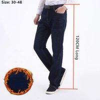 Homens jeans denim calças homens escuros azul inverno alto homem 120 cm longo mais tamanho 40 42 44 46 48 quente solto lã estiramento roupas
