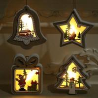 Рождественские Освещенные деревянные кулон Рождественская елка колокольчик подарок звезда дизайн висит кулон веселый рождественские дерево висит орнамент CCA12579
