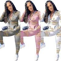 Kadın Moda Harfler Baskı Eşofman Yeni Tasarımcı Kıyafet Iki Parçalı Giyim Setleri Fermuar Ceket Ceket Tops Legging Pantolon Ter Suit G12607
