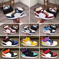 Nike Air Jordan 1 Çocuklar Ayakkabı Boyutu 22-35 Yüksek 1 1 S Çocuk Toddler Yeni Tasarımcı Işık Turuncu Renk Bebek Basketbol Ayakkabı