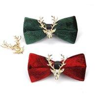 2020 Moda Nuevo Casual Hombres Dorado Velvet Christmas Elk Head Cabeza Boda Bow Pie Bandety Business Banquete Men's Decorative Bow Tie1