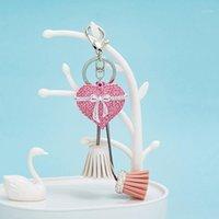 Anahtarlıklar Aşk Kalp Yay Düğüm Anahtarlık Kız Lady Charm Çanta Araba Sevimli Kolye Anahtarlık Yüzük Dekorasyon1