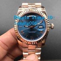 Top Reloj Azul Dial Día / Fecha Rose Gold Relojes de acero inoxidable Precio más bajo Hombre Mujer Mecánico Mecánico Reloj de pulsera 36mm