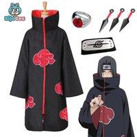Cosplay Set Anime Naruto Akatsuki / Uchiha Itachi Costume Halloween Party di Natale Sasuke Abbigliamento Gallo Capo Adulto Bambini Bambini Cosplay