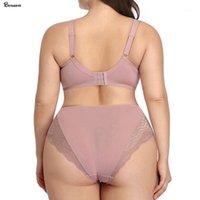 Beuuwear Spitze Wellenstreifen Unterwäsche für Frauen Weiche Tasse Minimierer BH und Super dünn atmungsaktiv Kurz plus Größe BH und Panty Set1