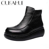 Oukahui осень зима натуральная кожа черная плоская платформа женщин сапоги теплые скольжения круглые носки толщинные нижние дамы короткие ботинки1