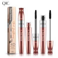 Qic cabeça dupla cabeça preta rímel fibra volume espesso 4d cruling alongamento rosa ouro chapeamento natural não-borrão coloris olhos cosméticos maquiagem