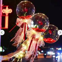 Valentines Geschenk LED-Ballon leuchtend Rosenstrauß Licht transparent Blase Rose Ball Geburtstag Hochzeits-Party-Dekoration HH21-21