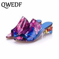 Kleid Schuhe Marke Große Größen 41 Elegante Kristalle Chunky Heels Sommer Frauen Frau Sandalen Freizeit Hausschuhe Dicke Ferse Feminino X2-821