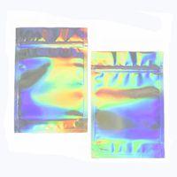 Wiederverschließbare Geruchsdrüse-Taschen-Folienbeutel-Tasche flach Laser-Farbe leerer Verpackungsbeutel für Party-Gunst Lebensmittelaufbewahrung holographische Farbe