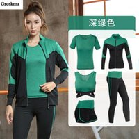 Yoga women sets sports running 5 piece set coats+ t shirt+ bra...