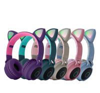 Новейшая игровая гарнитура со светодиодным светом складной мигающий светящиеся милые уши кошек беспроводные наушники BT 5.0 HIFI стерео музыка с микрофоном DHL