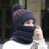Brand New Beanies Hat Women Sets Knit Skullies Hats With Bib Mask Female Winter Velvet Thick Warm Knitted Wool Cycling Caps