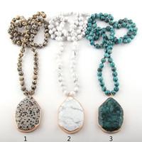 قلادة القلائد الأزياء البوهيمي مجوهرات حجر معقود مطابقة قطرة للنساء قلادة العرقية