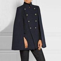 Savabien 2020 Урожай Женщины шерстяного пальто осени зима женщин куртки Элегантный Женский Двойной Брестед Теплый мыс пальто Верхняя одежда