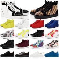 Sapatilhas de fundo vermelho Christian Louboutin Sapatos casuais masculino feminino baixo alto designer Spikes Full Roller Boat Flats Skateboard Mocassins Sapato de luxo homem
