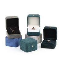 Neue Schmuck Verpackung Box Octagonal Ring Anhänger Anzeigen-Aufbewahrungsbehälter Mode Flanell Leder Schmuck Geschenk-Box für kostenlose Lieferung