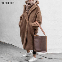 Kadın Kürk Faux 2021 Kış Kalın Sıcak Ceket Kadın Boy Teddy Ceketler Ve Mont Kadın Dış Giyim Rahat Uzun Kuzu Yün Paltolar Tops