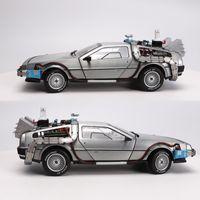 1/18 Liga de escala Carro Diecast Modelo Parte 3 Time Machine Delorean Vehicle Metal Brinquedo Welly Back to The Future F Kid Crianças presentes LJ200930