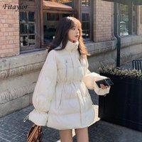 Fitaylor 2020 Зимняя Женщины Толстый Теплый Стенд Воротник 90% белая утка вниз ветровки Flared рукава Сыпучие ветрозащитный Снег куртки и пиджаки