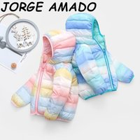 2020 Winter-Baby-Daunenjacken Junge Mädchen bunte Streifen-dünne Mantel-Kind-Kleidung QYF2004