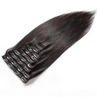 """Clip poils de remie péruvien dans des extensions de cheveux humains 7pcs Set Clips dans 100% EXTENSION DE CHEVEUX HUMUME PLAD Tête Full Set Droit Naturel 10 """"-26Quo"""