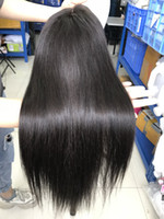 Straight human hair lace wig closure wig popular high qualit...