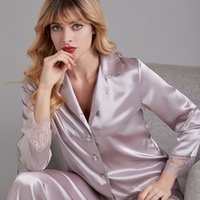 Lisacmvnel primavera nuevo pijama set mujer seda de hielo manga larga ocio cardigan lace traje pijamas 201113