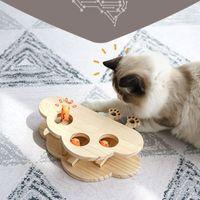 Giocattolo di puzzle in legno massello di legno interattivo divertente gatto caccia criceto bastone giocattoli pet fornisce y1126