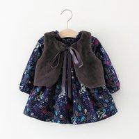 Focusnorm 0- 가을 겨울 아기 소녀 드레스 + 모피 조끼 목도리 꽃 인쇄 긴 소매 러프 A 라인 드레스 LJ200923