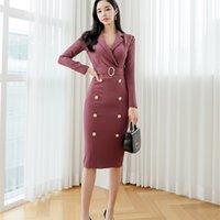 2020 осень новые продукты корейской версии темперамент тонкий средней длины двубортный бедра профессиональных женщин платье