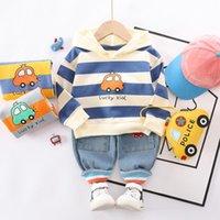 HYLKIDHUOSE Bebek Boys Giyim Sonbahar Yenidoğan Bebek Bebek Giyim Karikatür Kapşonlu Tişörtlü Jeans Çocuk Çocuk Kostüm ayarlar